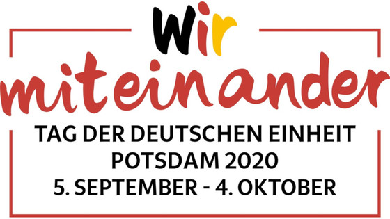 """Logo mit Motto """"Wir miteinander"""" und Datum 05. September bis 04. Oktober 2020 Potsdam"""