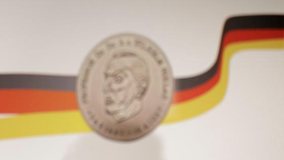 Die Professor-Niklas-Medaille vor einer Deutschland Flagge