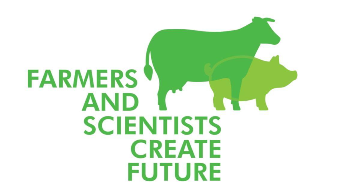 Das Logo des nationalen Kongresses zur Zucht von Rind und Schwein zeigt ein stilisiertes Rind und ein stilisiertes Schwein. Links daneben und darunter steht der Schriftzug FARMERS AND SCIENTISTS CREATE FUTURE in Großbuchstaben. Das Logo ist in unterschiedlichen Grüntönen gestaltet.