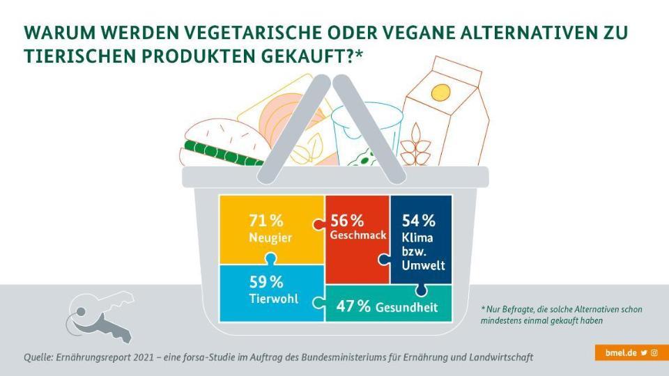 Gezeichnete Darstellung eines Korbs, gefüllt mit pflanzlichen Alternativen für Burger, Aufschnitt, Joghurt und Pflanzendrink