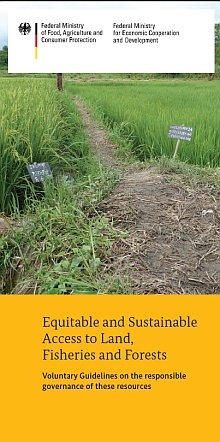 Cover Brochure 'Equitable and Sustainable Access to Land, Fisheries and Forests - Voluntary Guidelines on the responsible governance of these resources'