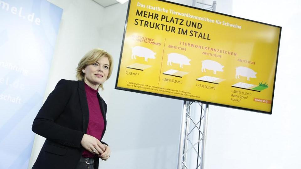 Federal Minister Klöckner next to a screen presentation