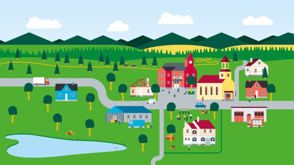 Drawn, stylized village in the country with church, school, fire station, multi-functional house, agriculture ...